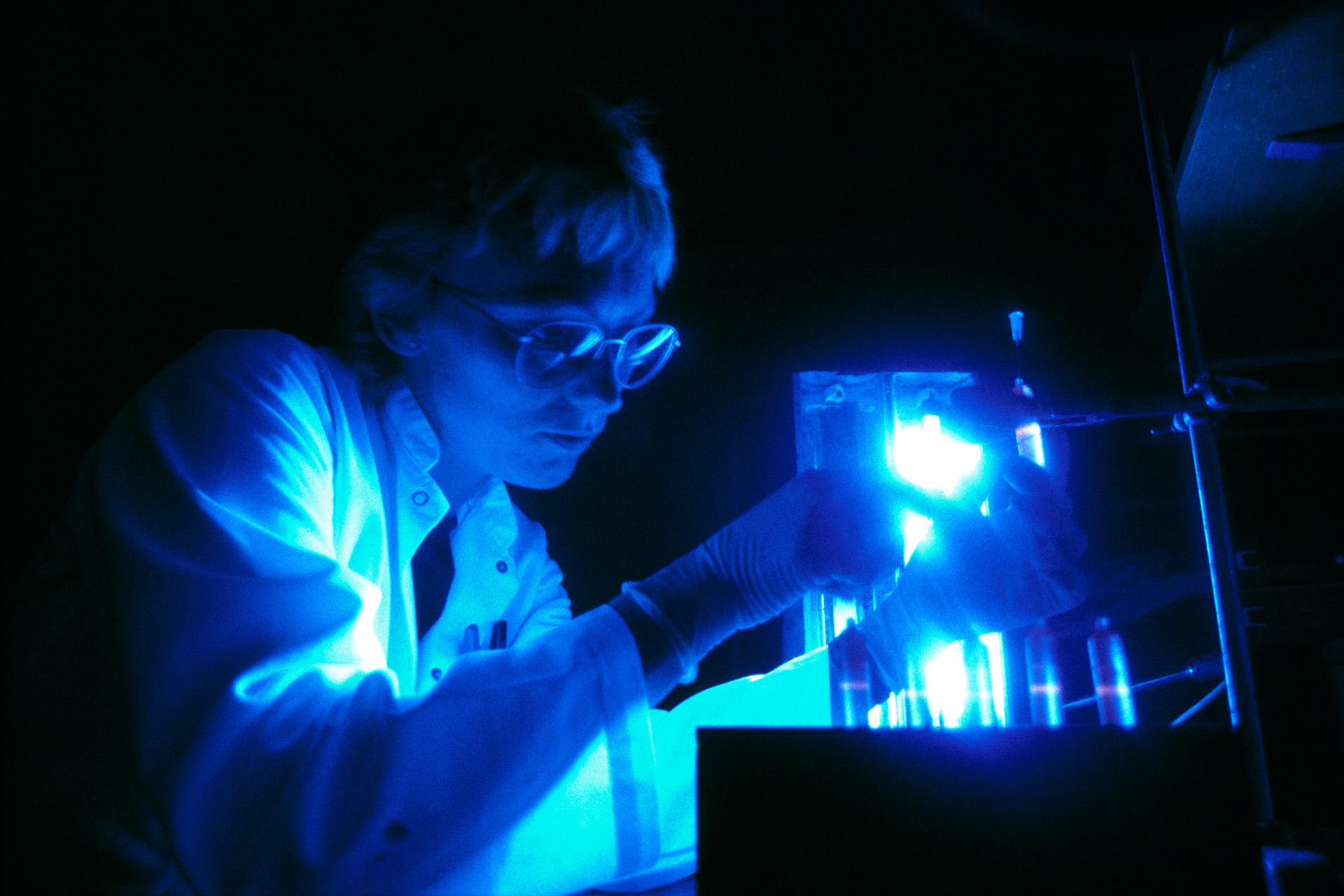 scientist in a laboratory at Novo Nordisk works under ultraviolet light