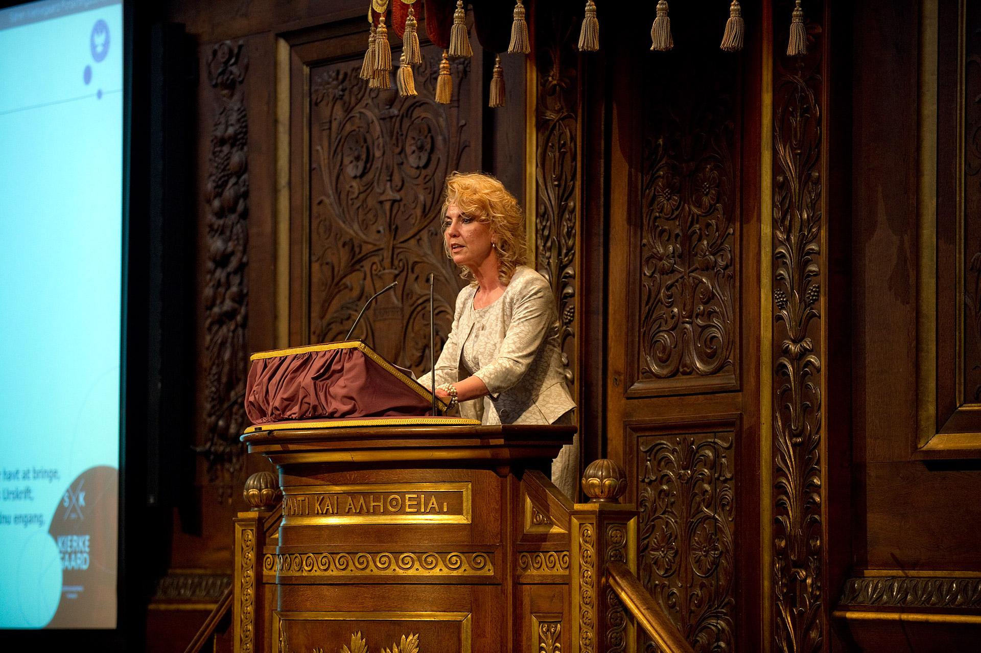 Pia Søltoft speaks at a Kierkegaard Symposium in Copenhagen University