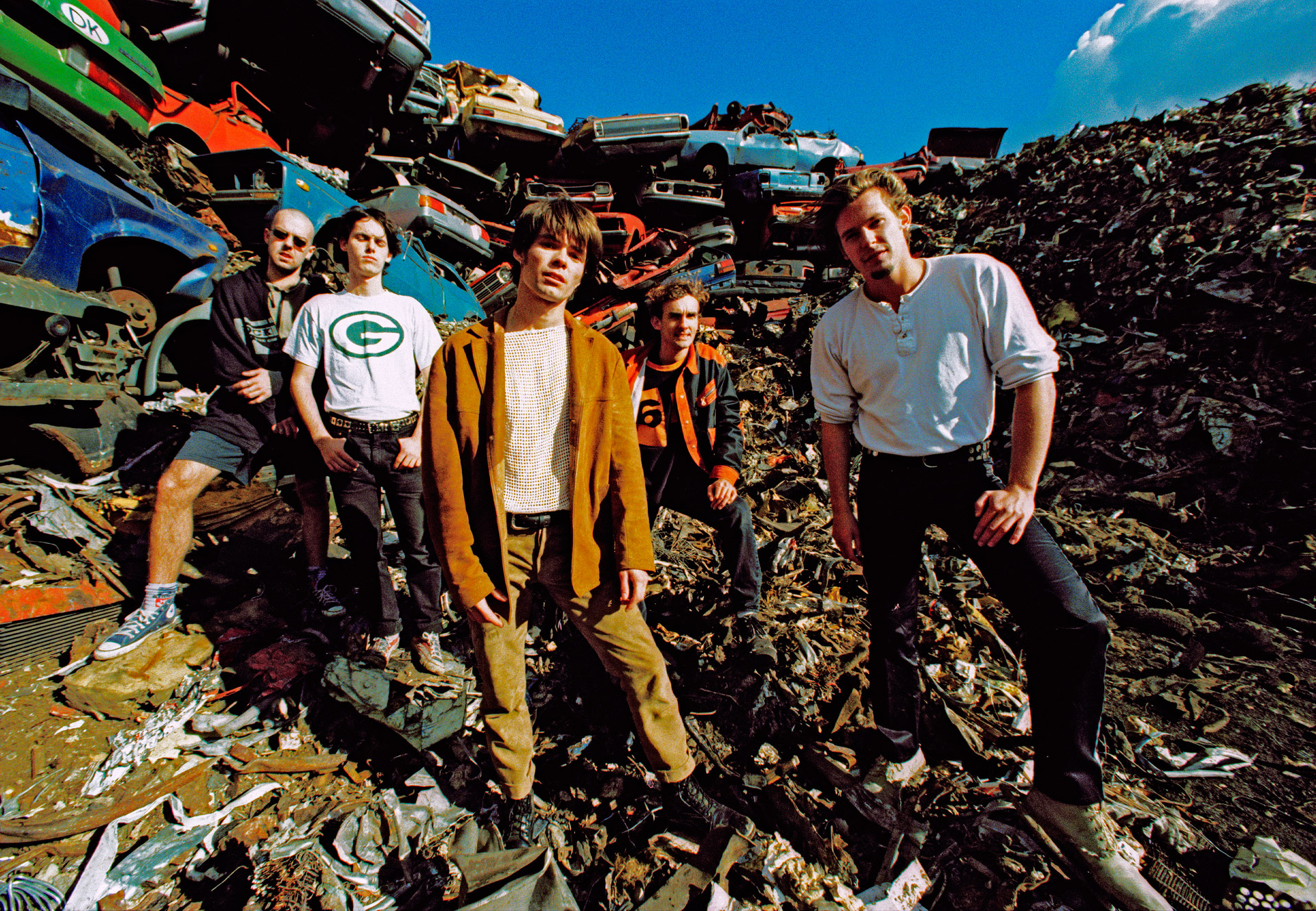 A Danish rock band at a car dump in Sydhavnen in Copenhagen