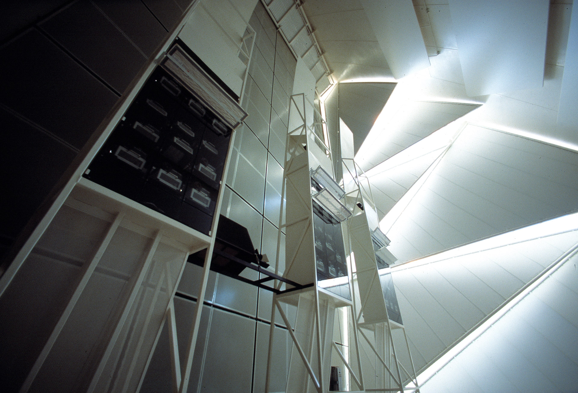 The towers containing the 67 slide- and video projectors for the multimediashow inside the Danish Pavillon in Sevilla, Expo 1992