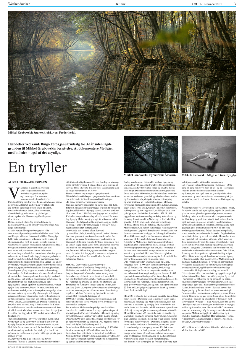 Article in Weekend Avisen about Mikkel Alexander Grabowski's book about Mølleåen