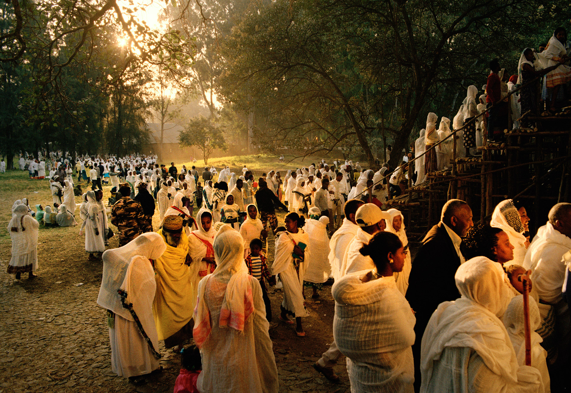 People coming to the Timkat religious Festival in Gondar Ethiopia
