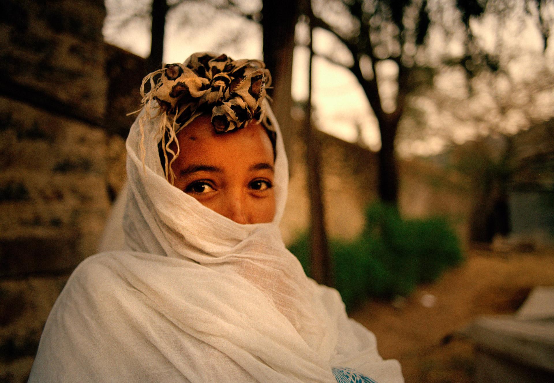 Woman at Timkat religious Festival in Gondar Ethiopia