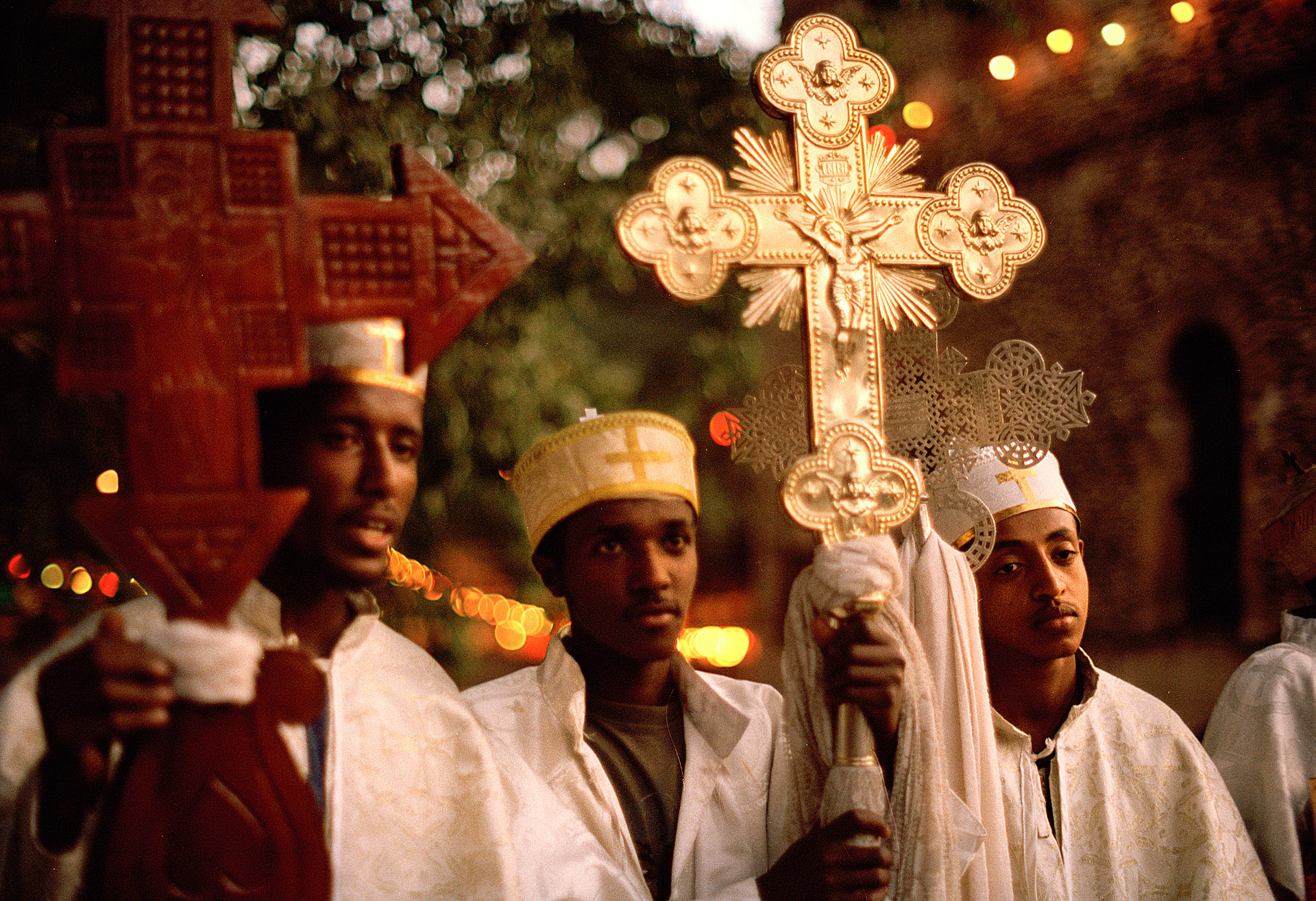 Young priests at Timkat religious Festival in Gondar Ethiopia