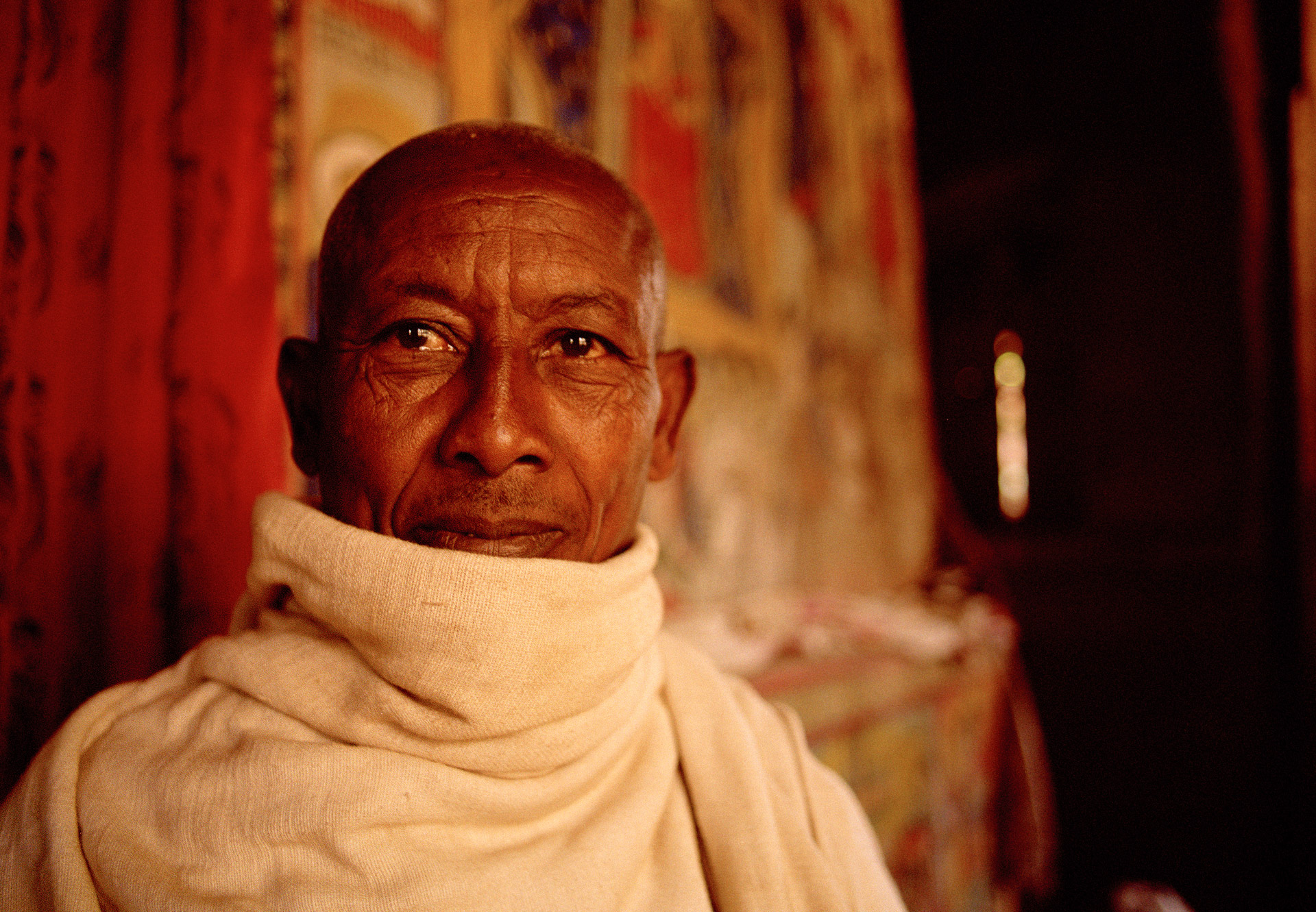 A monk Timkat in a monastery in Lake Tana