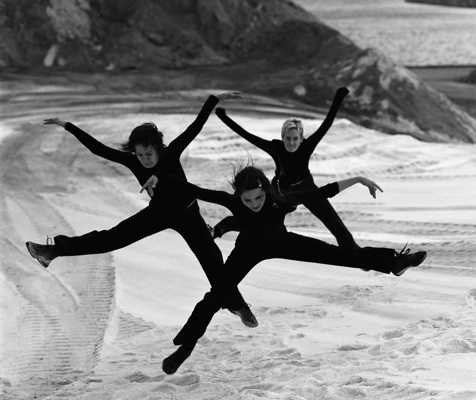 Dance group in air at a salt deposit in Nordhavnen in Copenhagen, Denmark