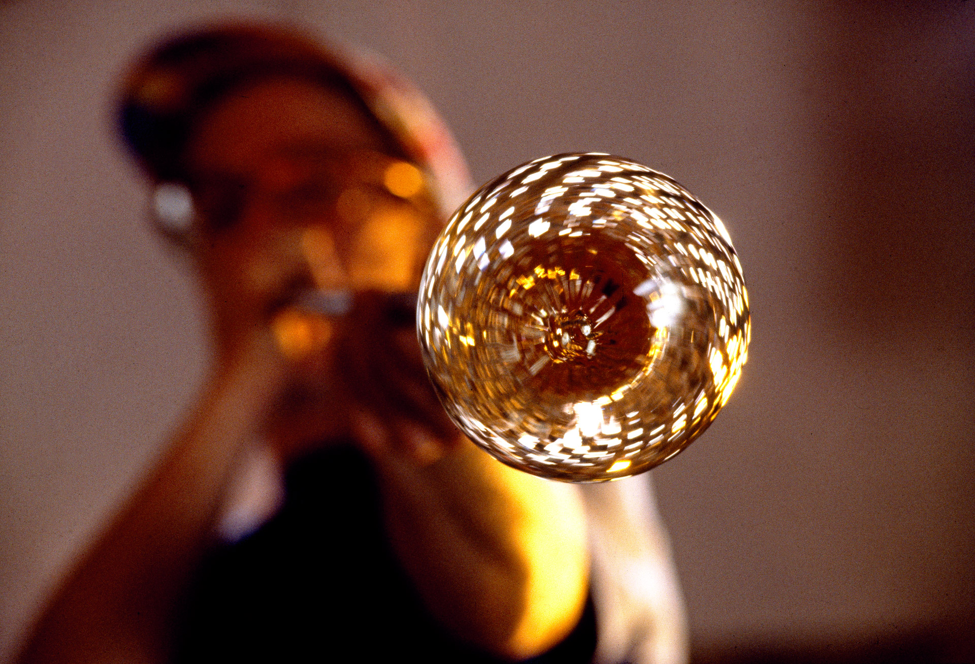 A glass blower at Baltic Glass in Bornholm