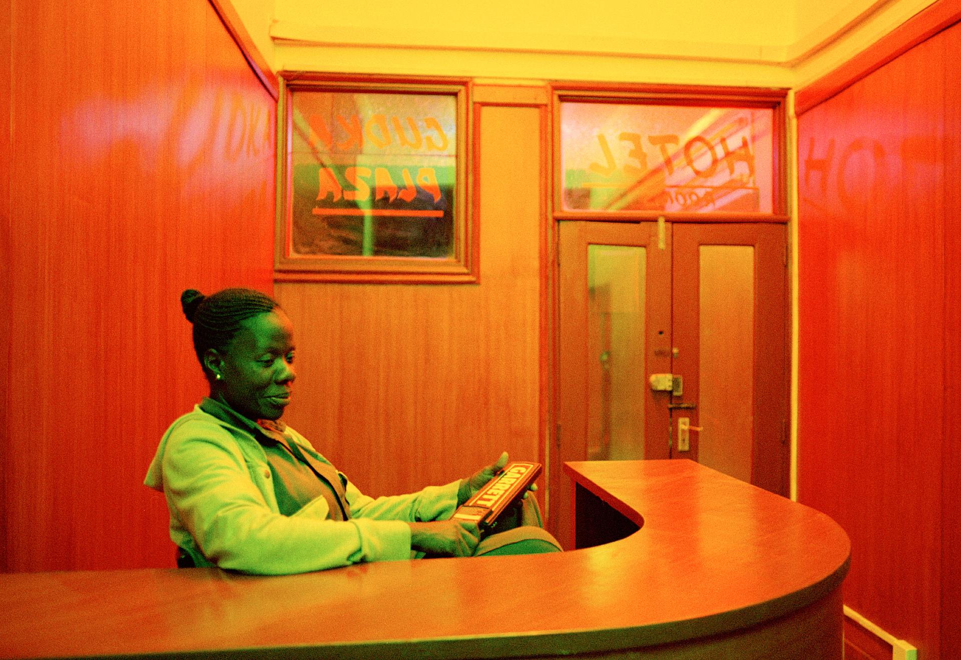 Woman in a hotel reception in Kisumu Kenya
