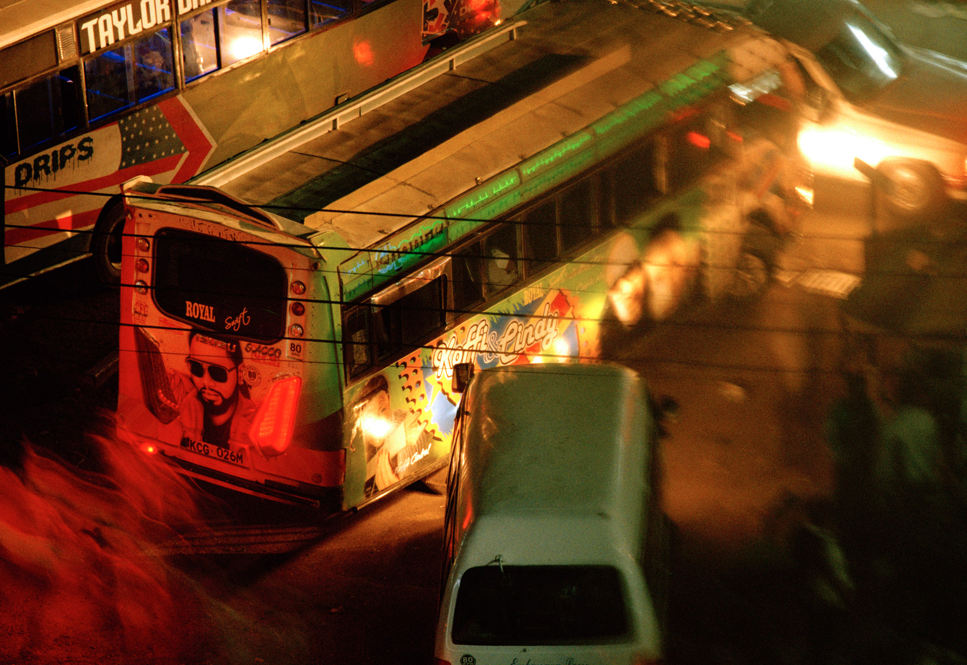Busses at a bus terminal in Nairobi