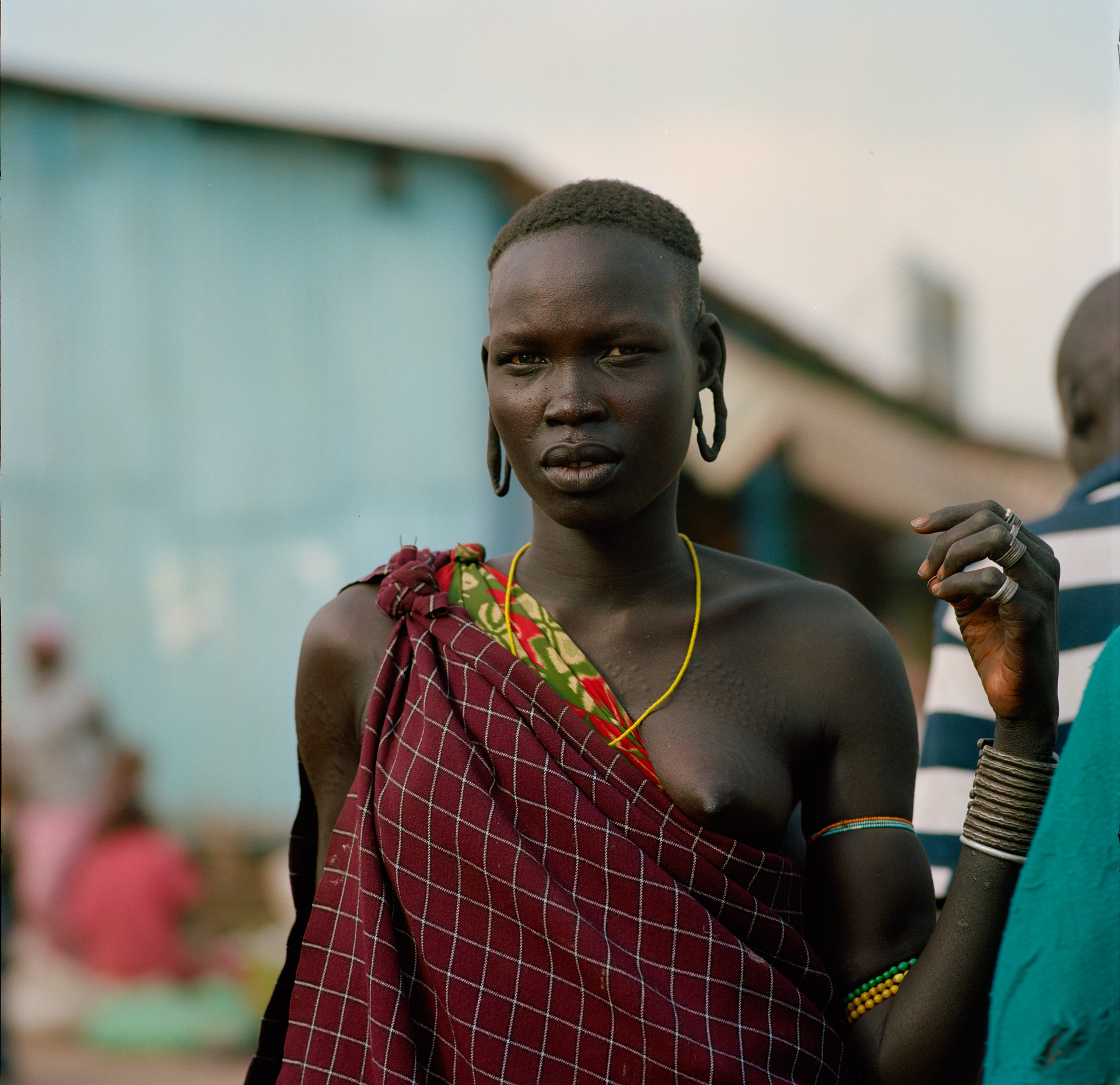 A woman from the Mursi tribe at the market in Jinka