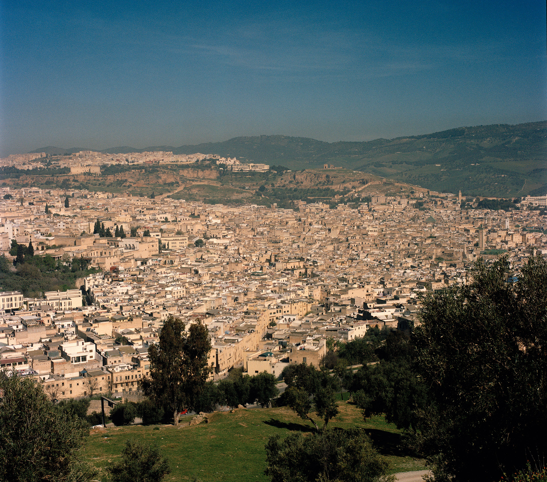 View over the old Medina quarters of Fez in Morocco