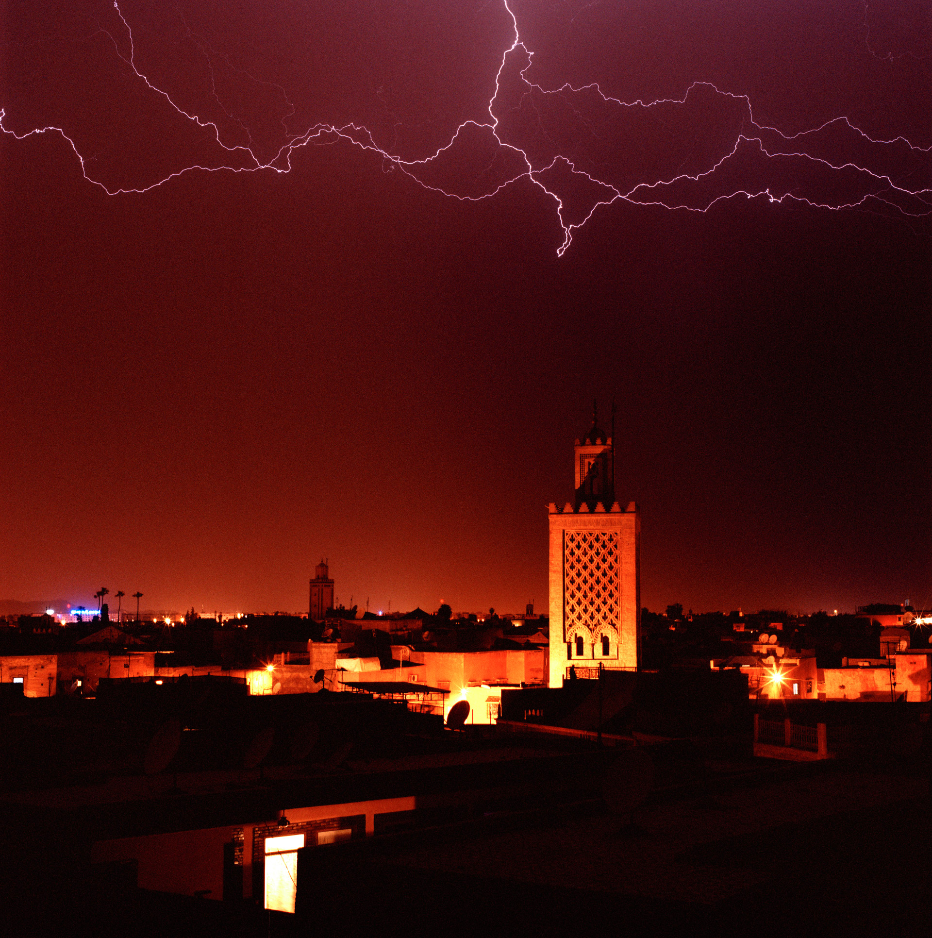 Lightning over the Kasbah Mosque in Marrakech