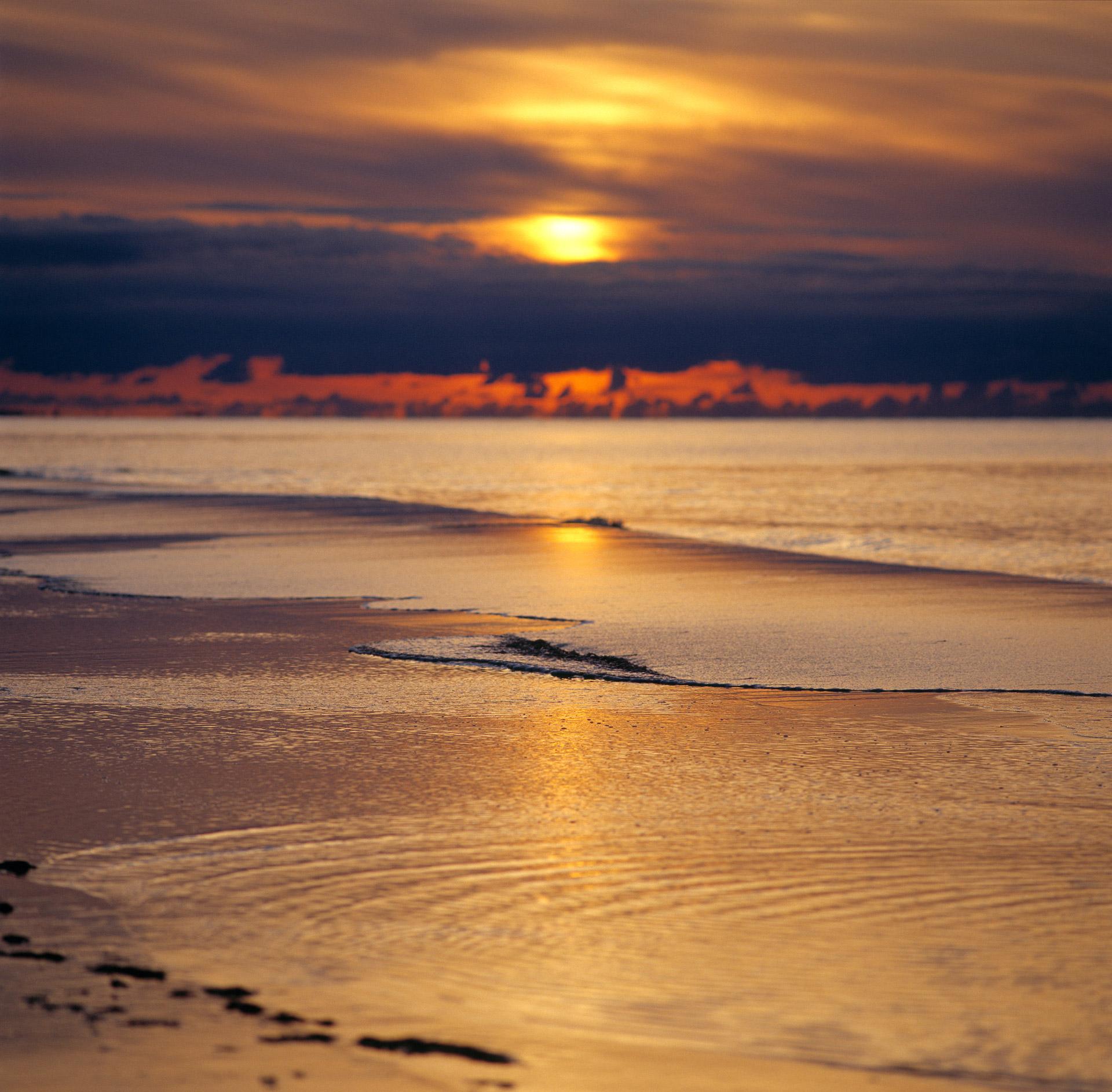 Sunset over the North Sea in Kandestederne in Denmark