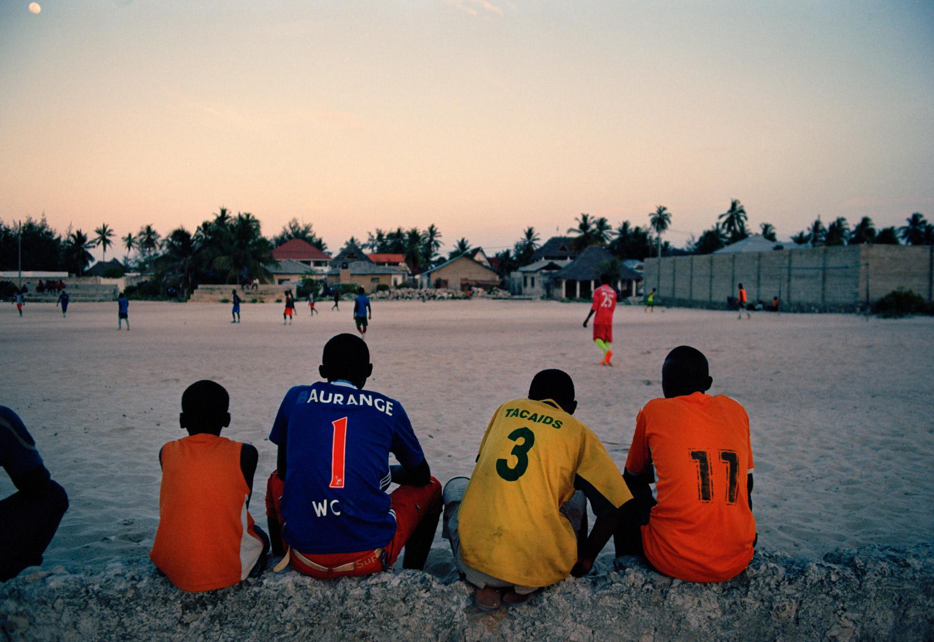 Locals watching a football game in Paje Zanzibar