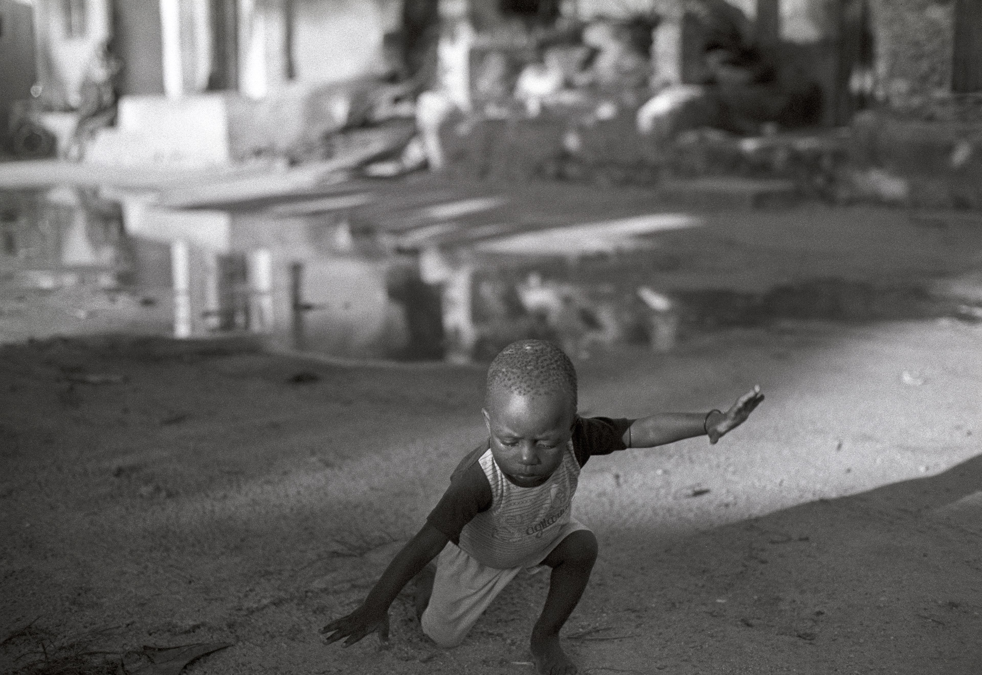 Boy regains balance after falling in Jambiani Zanzibar