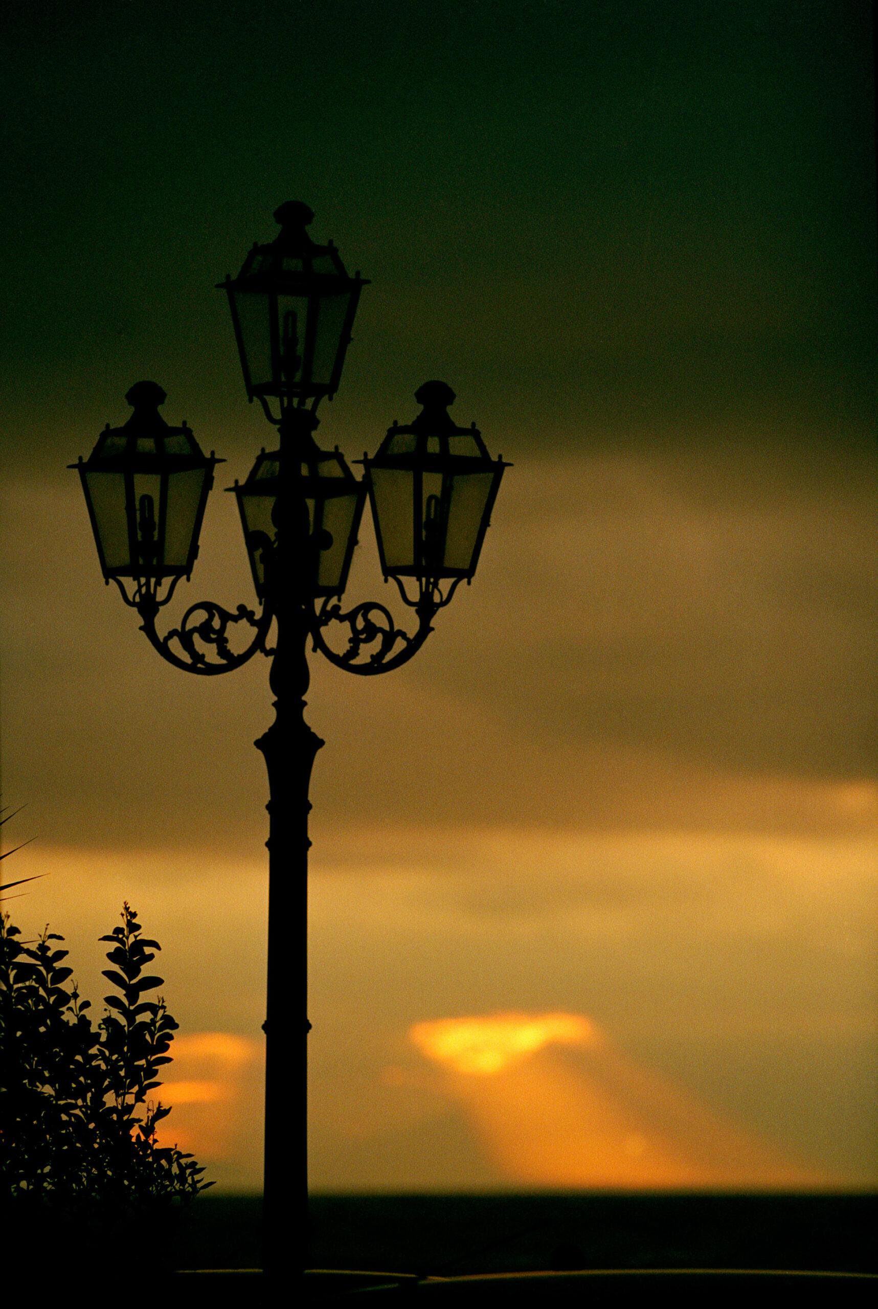 A street light at the Amalfi coast in Italy