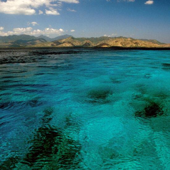 The sea off Gili Trawangan with Lombok seen in the distance