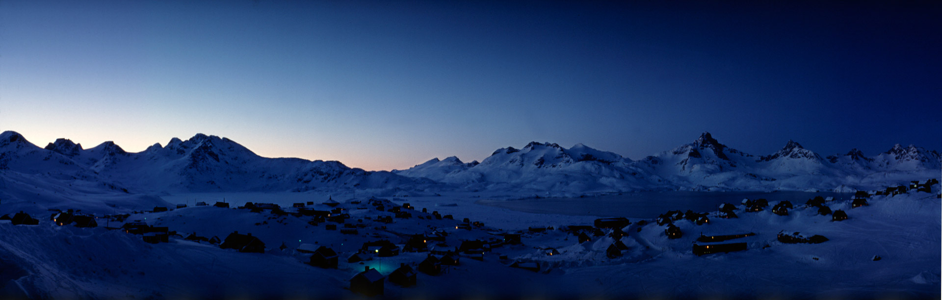 View over Ammassalik in Greenland at dusk