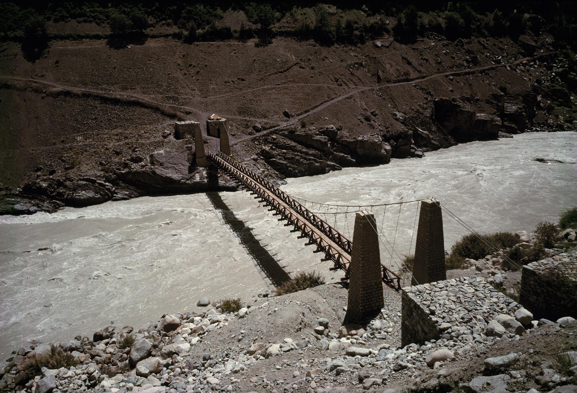 A bridge across a river in Ladakh, India