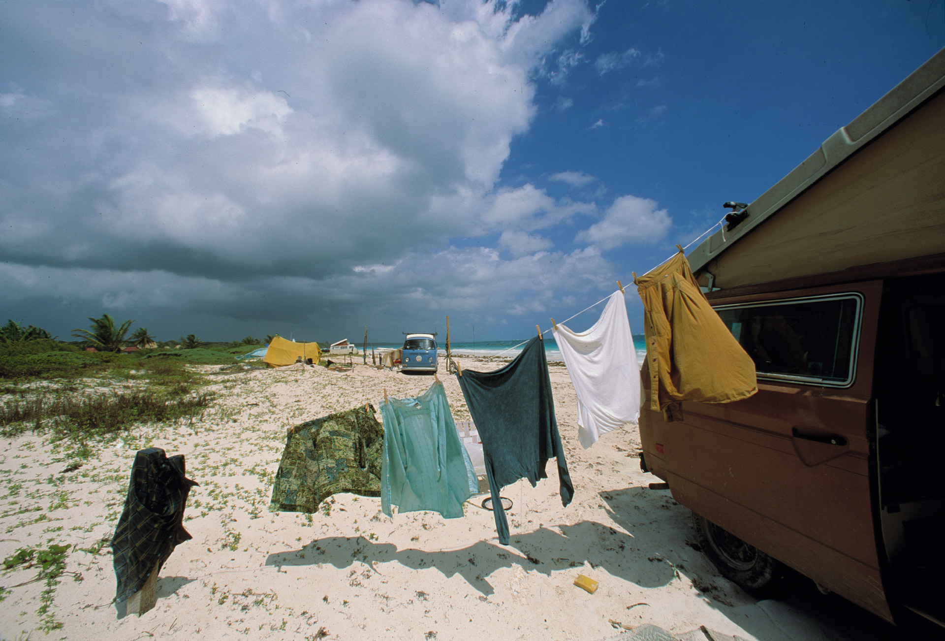 Laundry drying in the wind on the beach in Tulum, Mexico