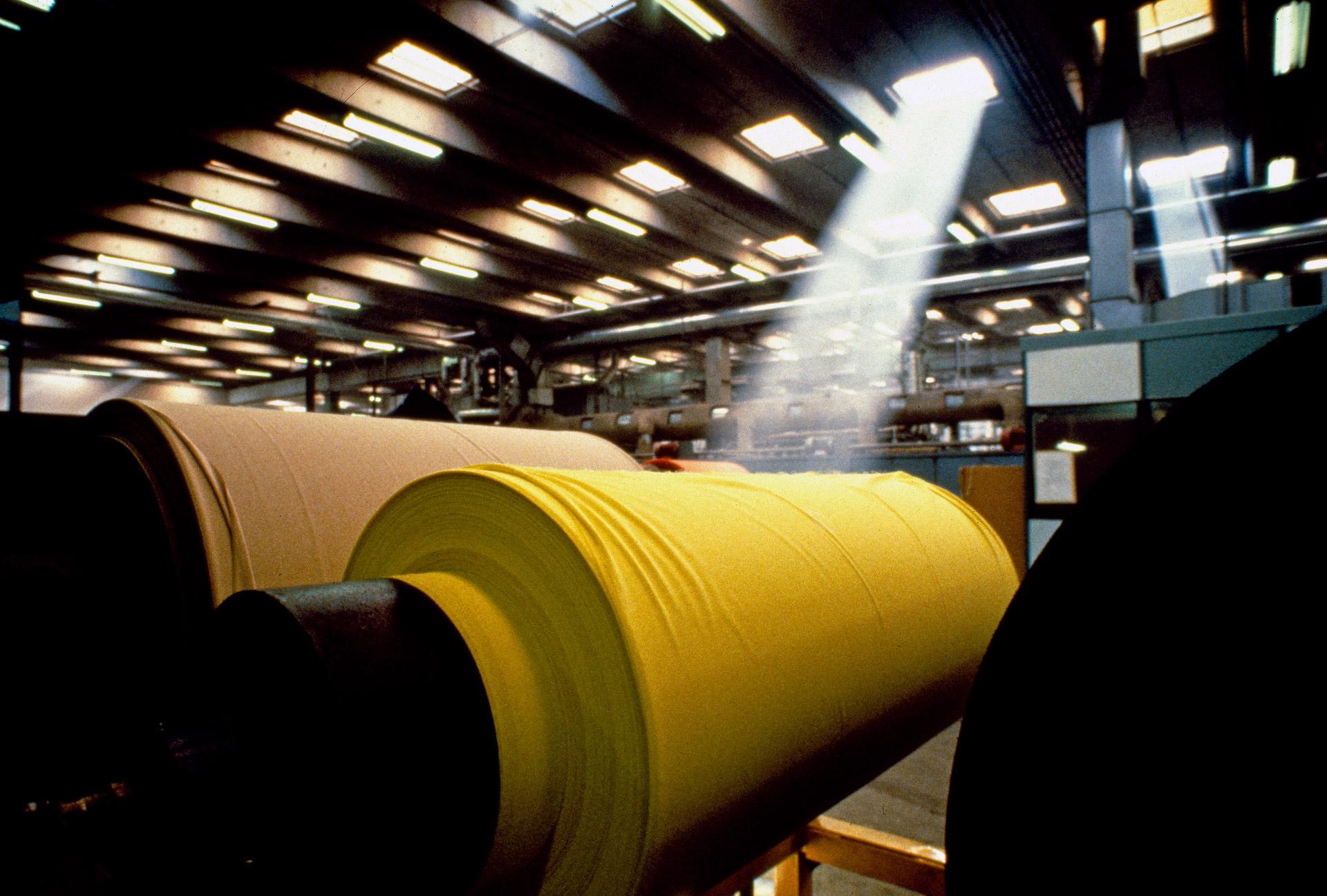 Big rolls of material at B.W. Wernerfelt factory