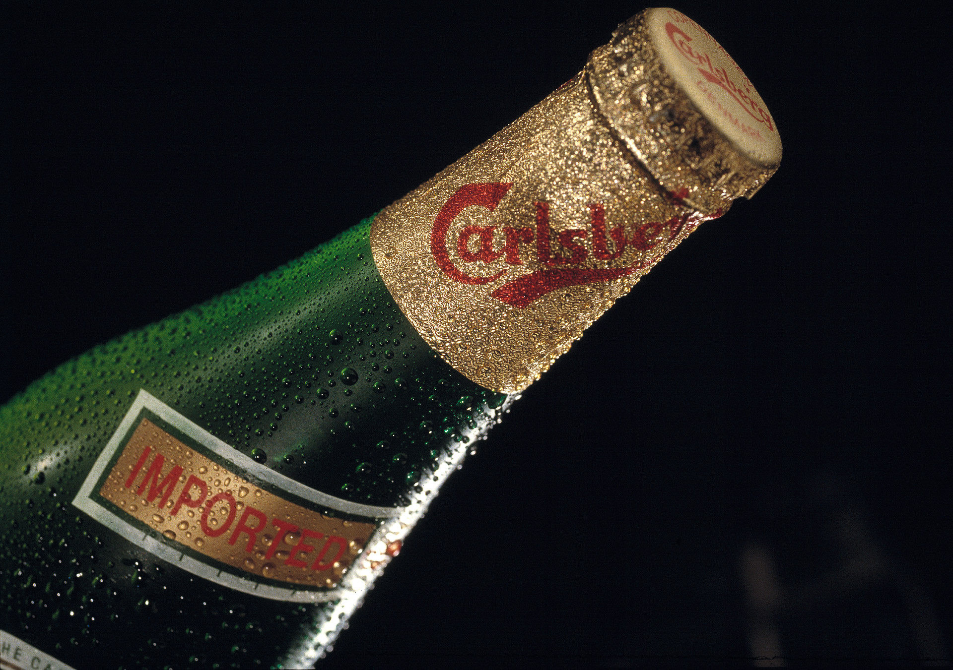A Carlsberg Imported beer photographed in the studio