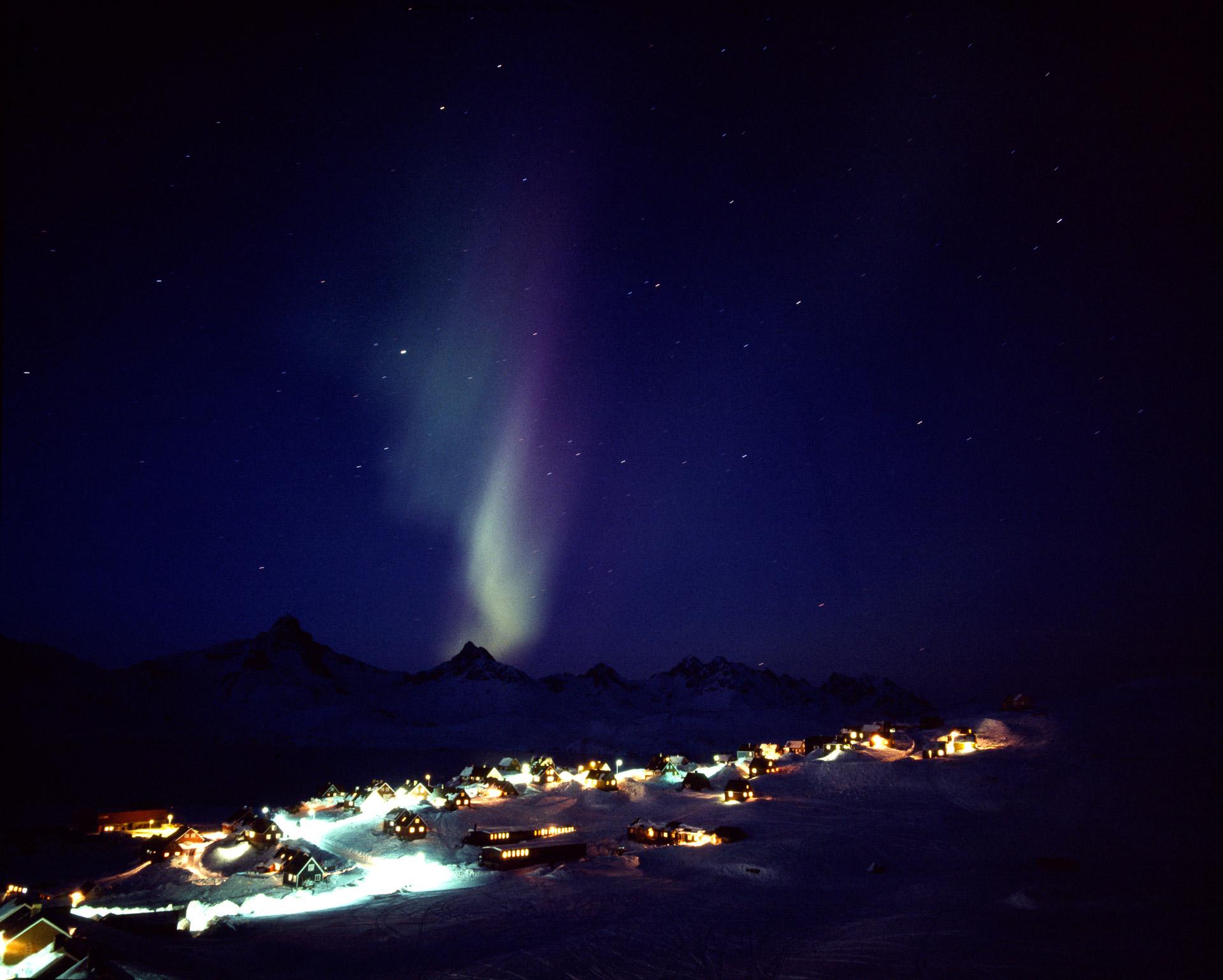 Aurora Borealis over Ammassalik in Eastern Greenland