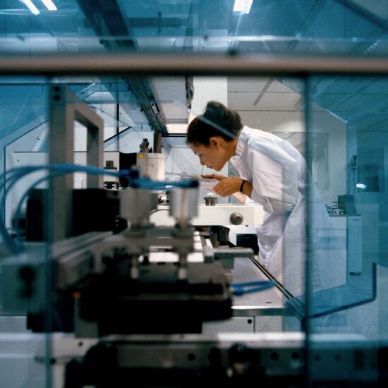 An employee at Grundfos
