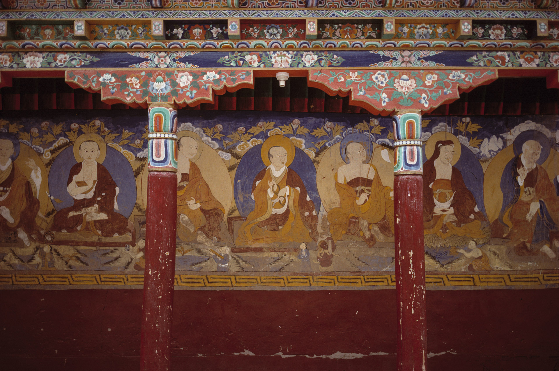 Colorful religious murals in Thiksey Monastery in Ladakh
